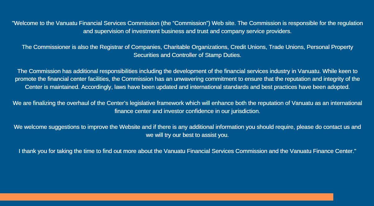 Vanuatu Financial Services Commission | Regulation and